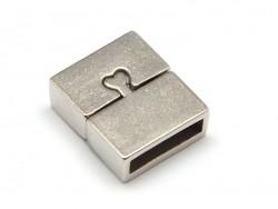 Fermoir aimanté rectangulaire 16 mm - couleur argenté mat