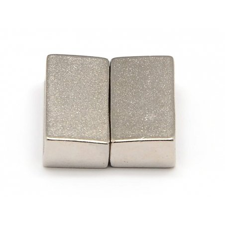 Rectangular magnetic clasp (16 mm) - matte silver-coloured