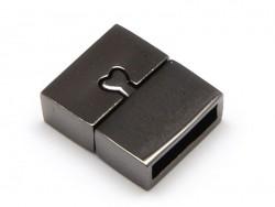 Fermoir aimanté rectangulaire 16 mm - couleur  noir métallisé