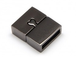Rectangular magnetic clasp (16 mm) - metallic black