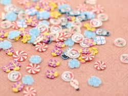 100 polymer clay cane slices - Christmas mix