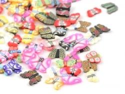 100 Polymer-Clay-Cane-Scheiben - Schmetterlingsmix