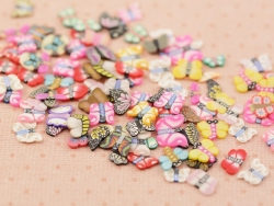 100 polymer clay cane slices - butterfly mix