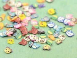 100 polymer clay cane slices - cute animal mix