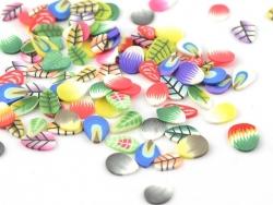 100 Polymer-Clay-Cane-Scheiben - Blatt- und Blütenmix