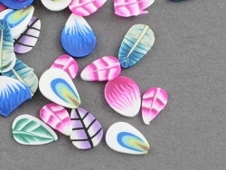 100 polymer clay cane slices - Leaf and petal mix