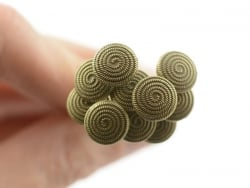10 Stifte mit runden Köpfen - bronzefarbene Spirale