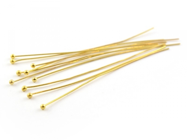 10 pins with ball-shaped heads - gold-coloured
