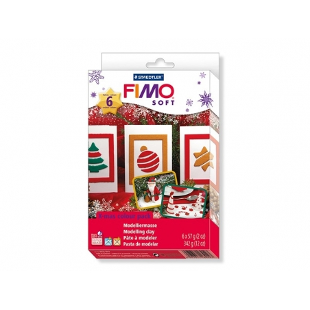 Fimo kit incl. 6 clay blocks and a mould - Christmas