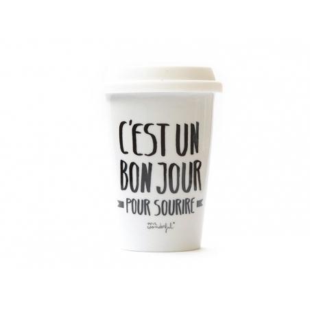 """Acheter Mug à emporter """"C'est un bon jour pour sourire"""" - 19,90€ en ligne sur La Petite Epicerie - Loisirs créatifs"""