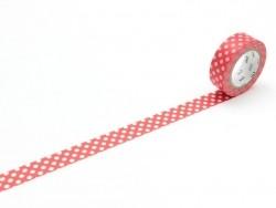 Masking tape rouge à pois blanc