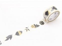 Masking tape Noël feuilles métallisées
