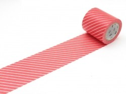 Masking tape Casa - rouge rayé blanc