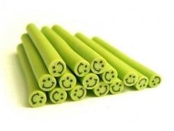 Cane sourire Vert pomme- en pâte polymère pour le modelage