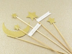 5 decorative cake toppers in the shape of a glittery moon and stars