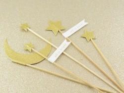 5 piques décoratives lune et étoiles à paillettes