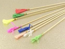 8 decorative paper swizzle sticks with crepe paper tassels