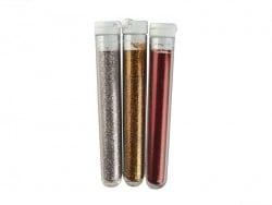 3 Röhrchen mit Feinflitter - silberfarben, goldfarben und rot