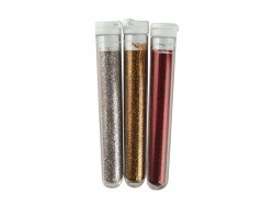 3 tubes of fine glitter - silver, gold and red