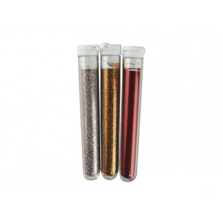 3 tubes de paillettes fines - argenté, doré, rouge