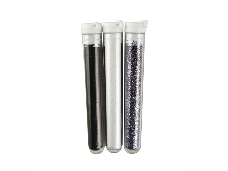 3 tubes of fine glitter - black, violet and white