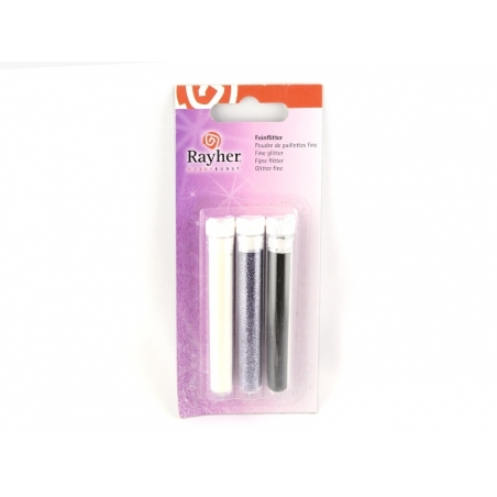 Acheter 3 tubes de paillettes fines - noir, violet, blanc - 2,80€ en ligne sur La Petite Epicerie - 100% Loisirs créatifs