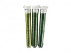 3 Röhrchen mit Feinflitter - grün