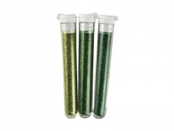 3 tubes of fine glitter - green hues