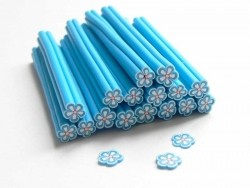 Cane paquerette bleue en pâte fimo - à découper en tranches
