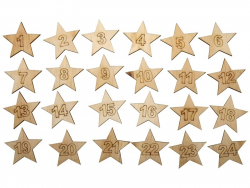 Calendrier de l'avent en forme d'étoiles en bois