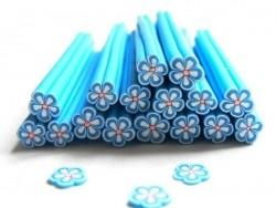 Cane paquerette bleue en pâte fimo - à découper en tranches  - 3
