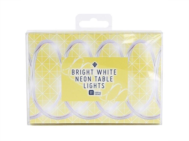 Neon-coloured LED table lights - white