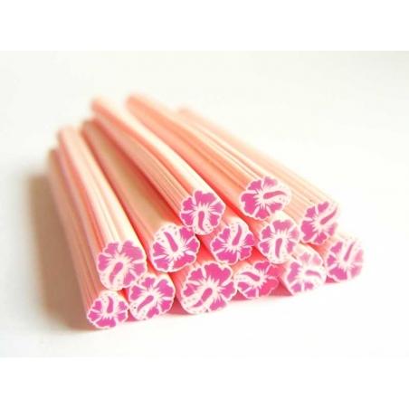 Cane fleur de monoï rose en pâte fimo - à découper en tranches  - 1