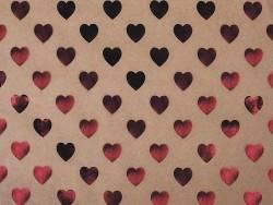 Kraftpapierbogen - rote Herzen
