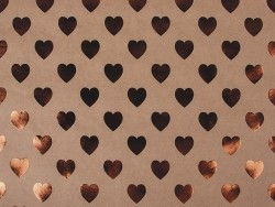 Kraftpapierbogen - kupferfarbene Herzen