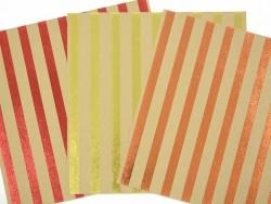Feuille carton kraft - rayures rouges