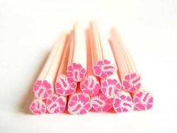 Cane fleur de monoï rose en pâte fimo - à découper en tranches  - 2