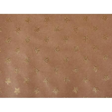 Feuille carton kraft - étoiles paillettes dorées