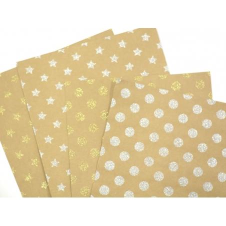 Kraft paper sheet - gold-coloured glitter stars