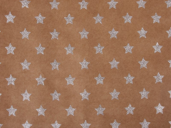 Kraft paper sheet - silver-coloured glitter stars