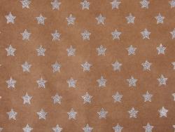 Kraftpapierbogen - silberfarbene Glitzersterne