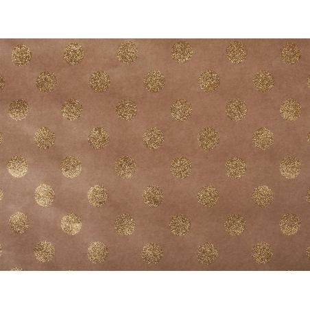 Feuille carton kraft - pois paillettes dorées Rayher - 1