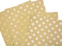 Feuille carton kraft - pois paillettes dorées