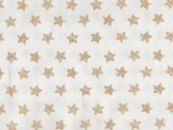 Golden, glittery, star-printed fabric
