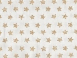 Stoff mit glitzerndem, goldenem Sternenmuster