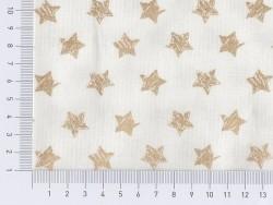 Golden, glittery, star-printed fabric