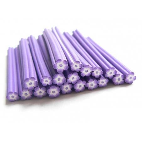 Cane fleur violette et blanche en pâte polymère  - 1