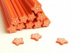 Cane étoile rouge rayures- en pâte fimo - à trancher  - 1