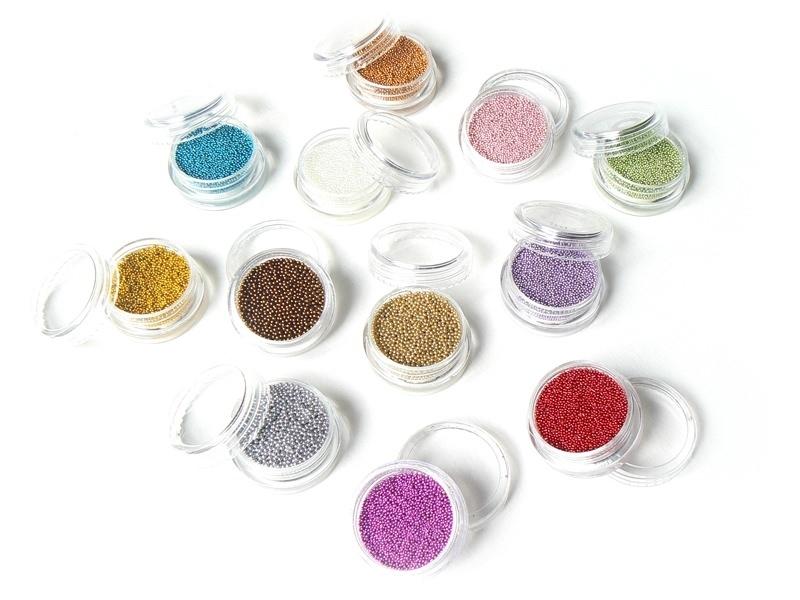 Set of 12 metallic microbeads