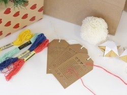 24 embroidery gift tags - kraft paper